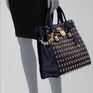 Michael Kors Gold Studded Hamilton LIKE NEW navy
